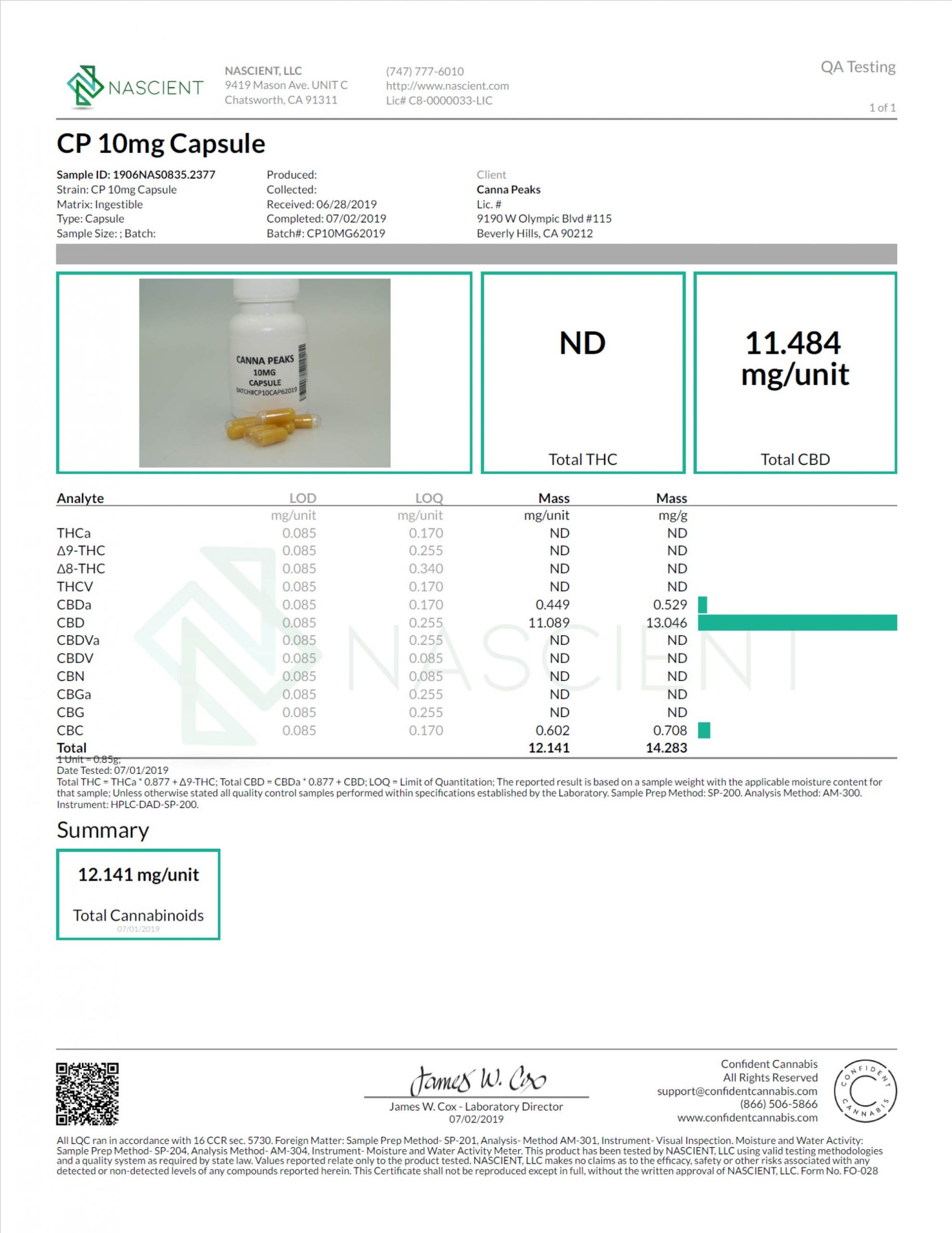 Nascient Lab CBD Test Results for Canna Peaks Capsules