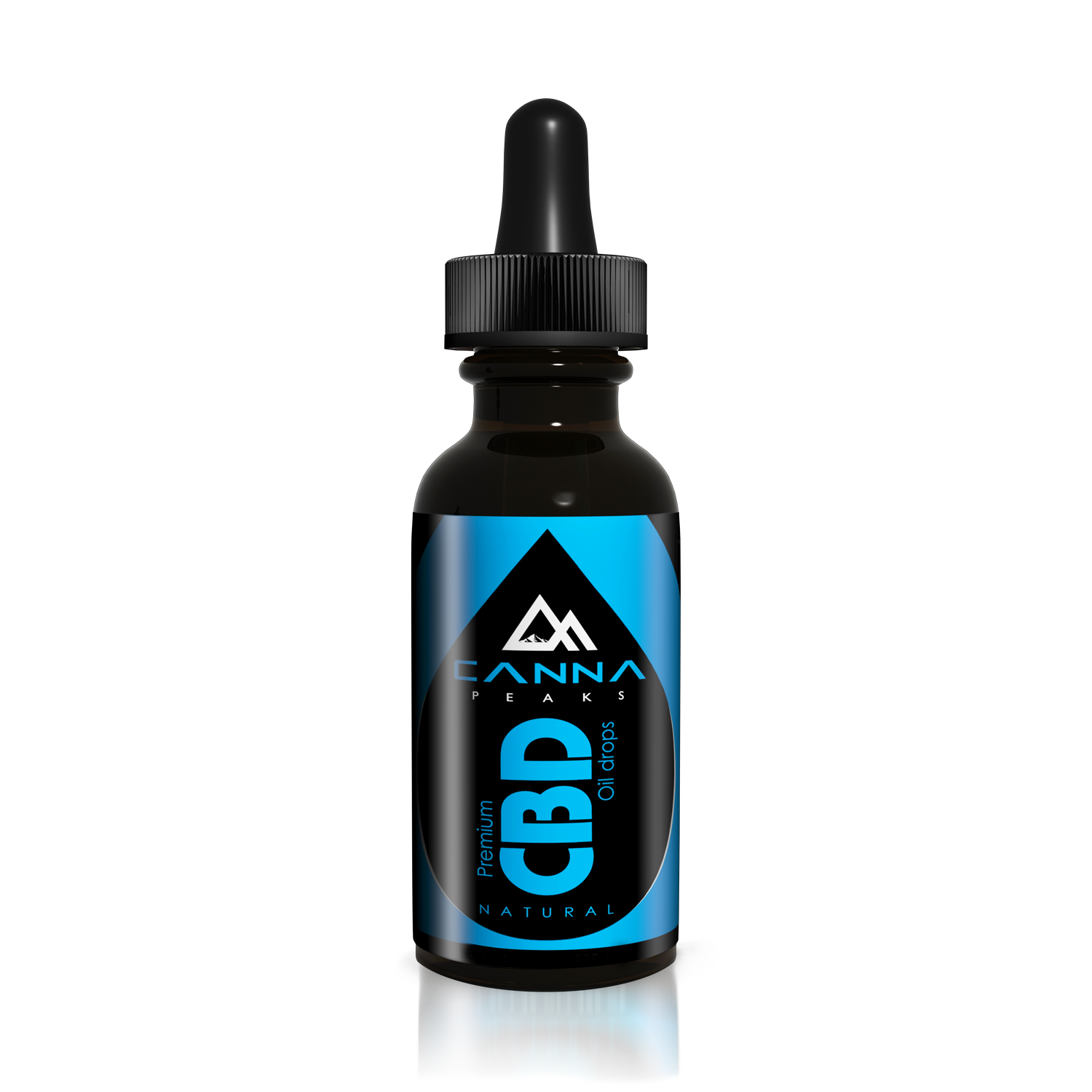 Canna Peaks All Natural, Organic, Pure Blue Label CBD Oil - 300 mg Bottle with Dropper